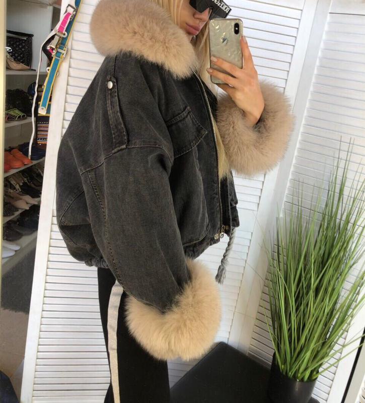 Джинсовая куртка + финский песец + мех кролика - Фото 2