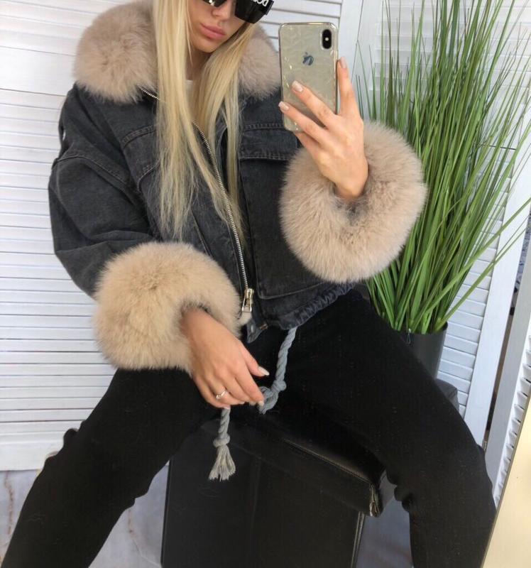 Джинсовая куртка + финский песец + мех кролика - Фото 3