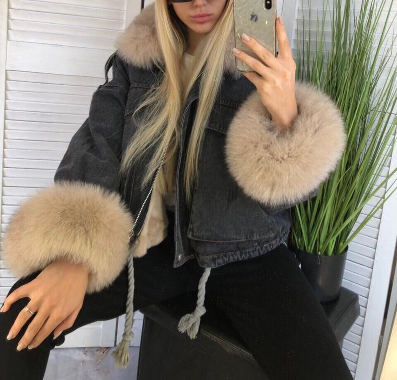 Джинсовая куртка + финский песец + мех кролика - Фото 4