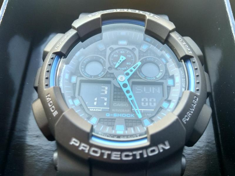 Часы Casio G-shock GA-100-1A2 черные с синими вставками новые - Фото 4
