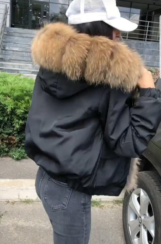 Бомбер,куртка с натуральным мехом,пуховик - Фото 2