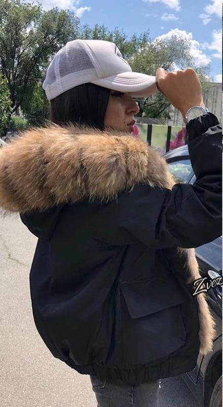 Бомбер,куртка с натуральным мехом,пуховик - Фото 3