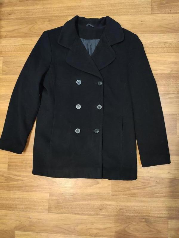 Etam демисезонное черное пальто, полупальто, шерсть и кашемир
