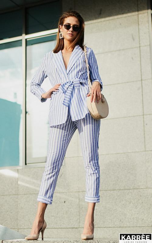 Костюм в полоску полосатый льняной лен брюки пиджак жакет