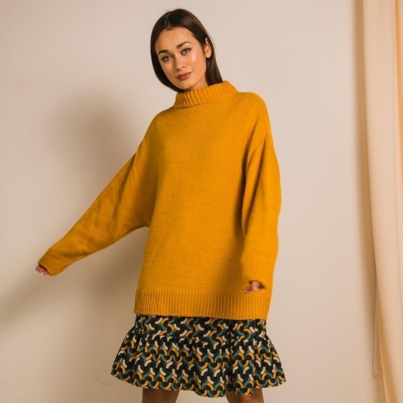 Объемный удлиненный свитер