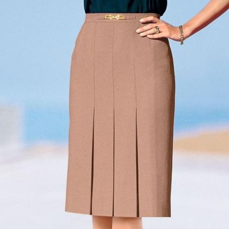 Afibel юбка классическая бежевая трапеция с золотой вставкой