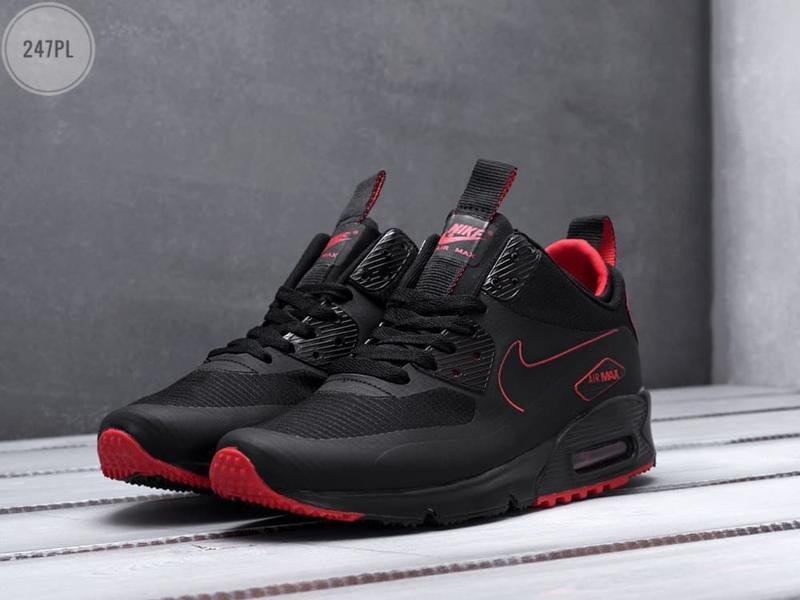 Nike air max mid winter black/red, мужские демисезонные кроссо...