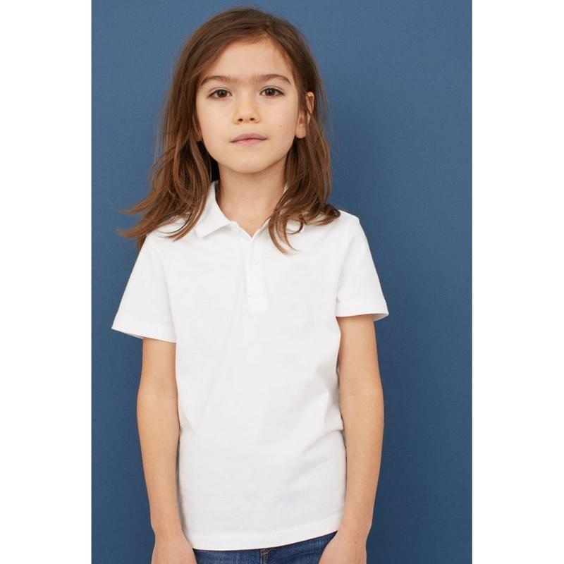 Белая футболка-поло на 7-8 лет