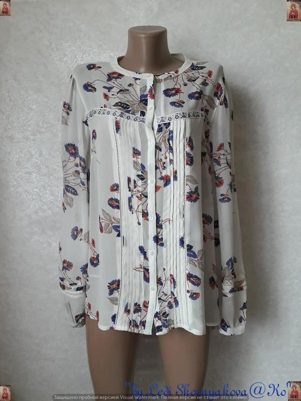 Фирменная next яркая блуза в цветочный принт и кружевными вста...