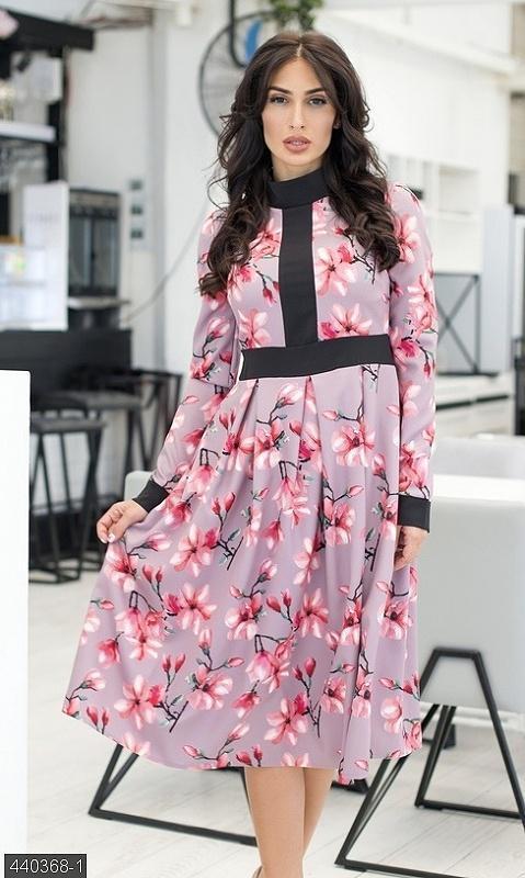 Шикарное платье с принтом цветы