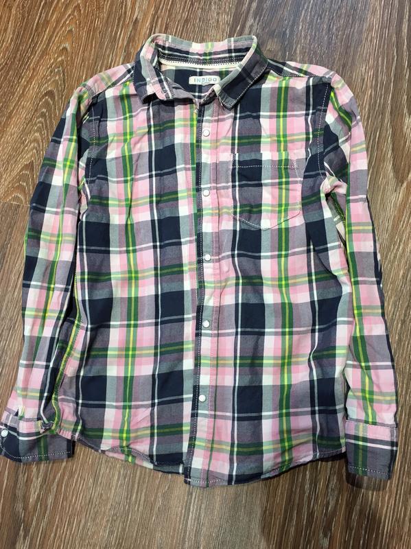 Рубашка в клеточку на 8-9 лет
