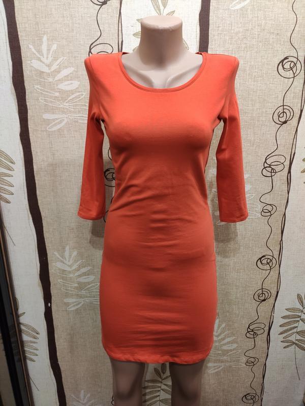 Divided оранжевое трикотажное мини платье в обтяжку