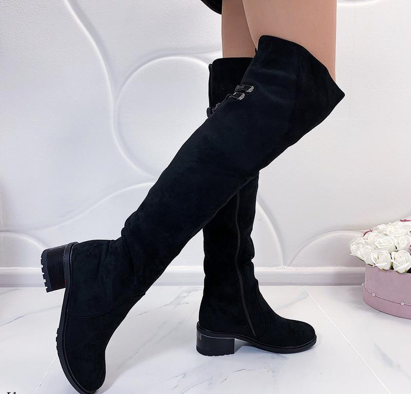 Новые шикарные женские зимние черные сапоги ботфорты
