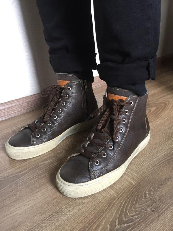 Шкіряні утеплені високі кеди-кросівки