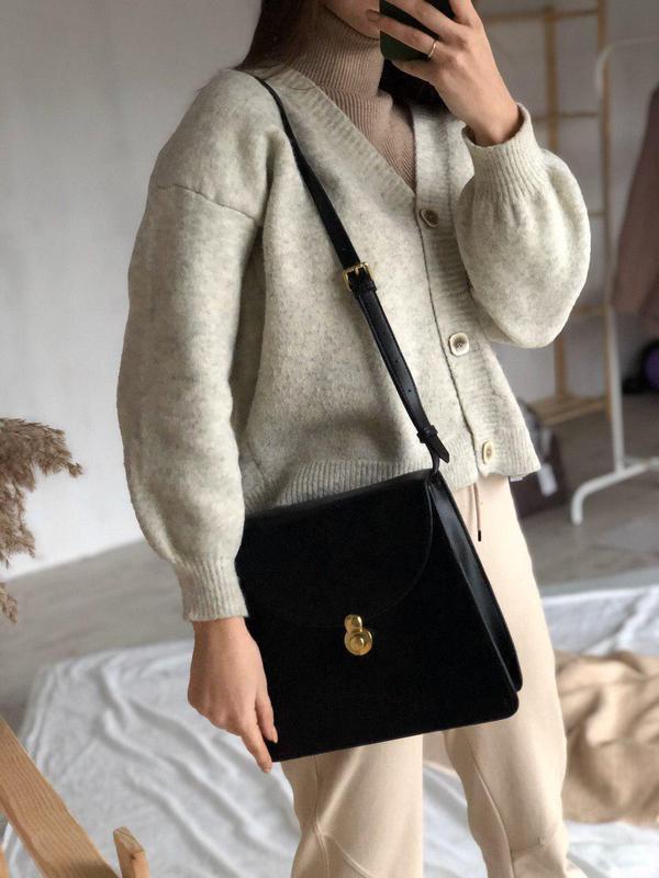 Стильная сумка портфель с короткой и длинной ручками