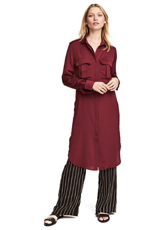 Бордовое платье,туника, рубашка h&m
