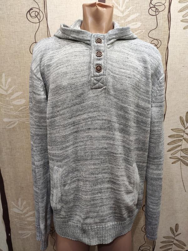 H&m серый теплый свитер, худи с капюшоном, коттон