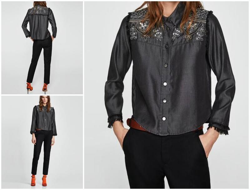 Джинсовая рубашка с пайетками и с вышивкой zara