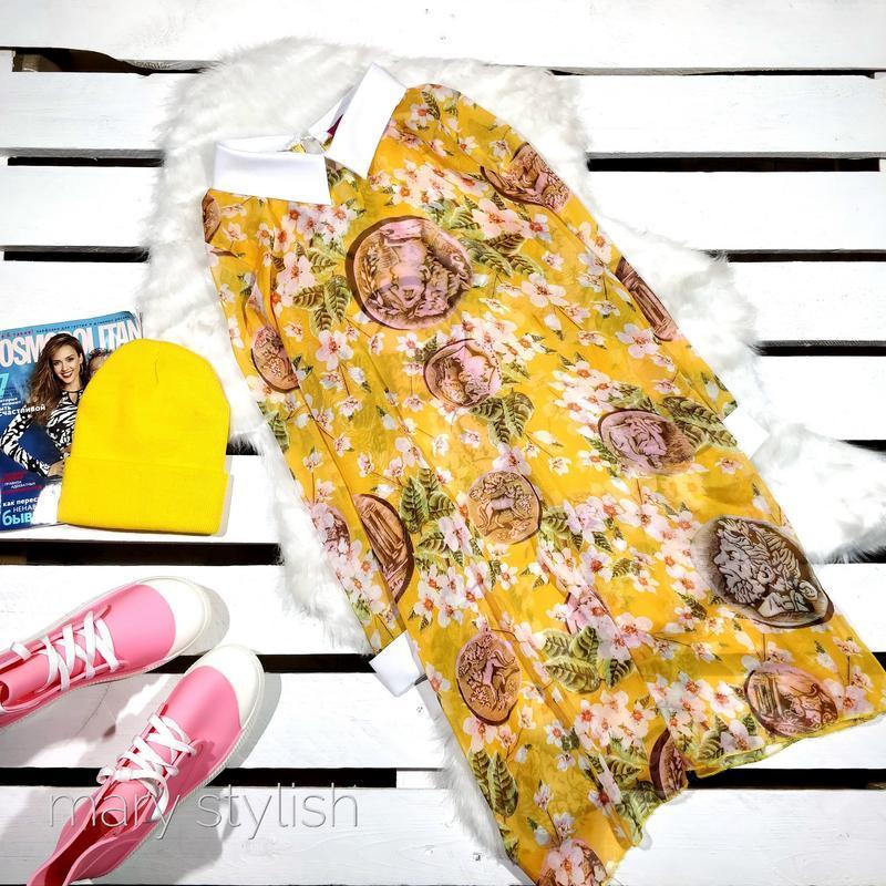 Шифоновая желтое платье туника прозрачное