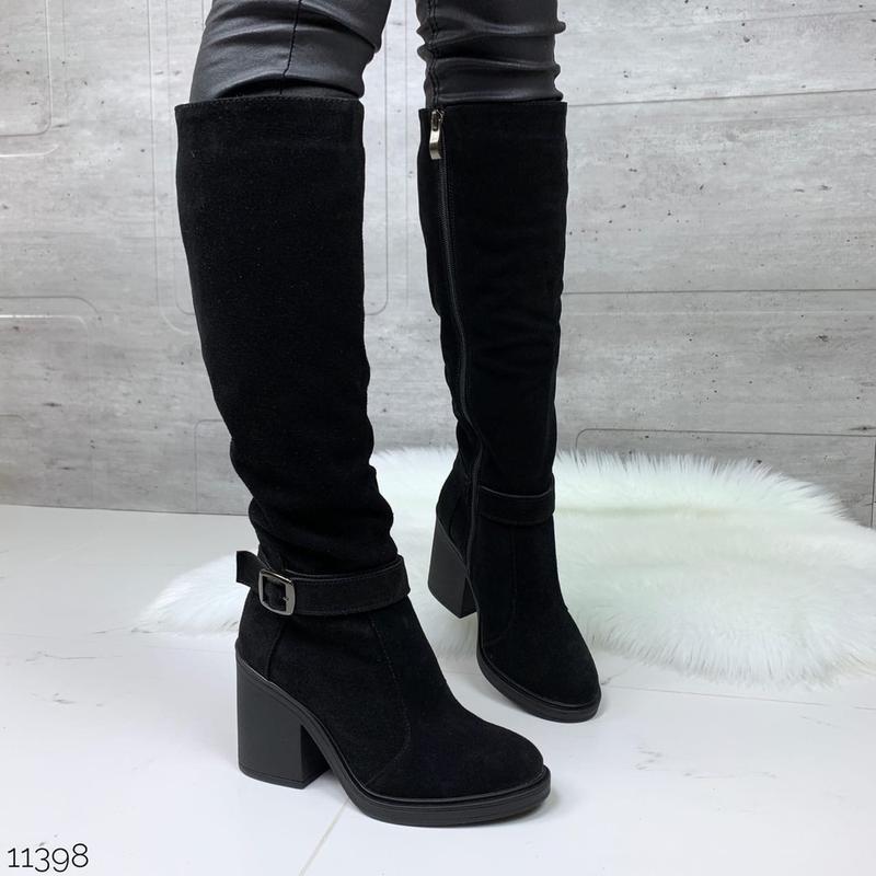 ❤ женские черные зимние замшевые высокие сапоги полусапожки бо...