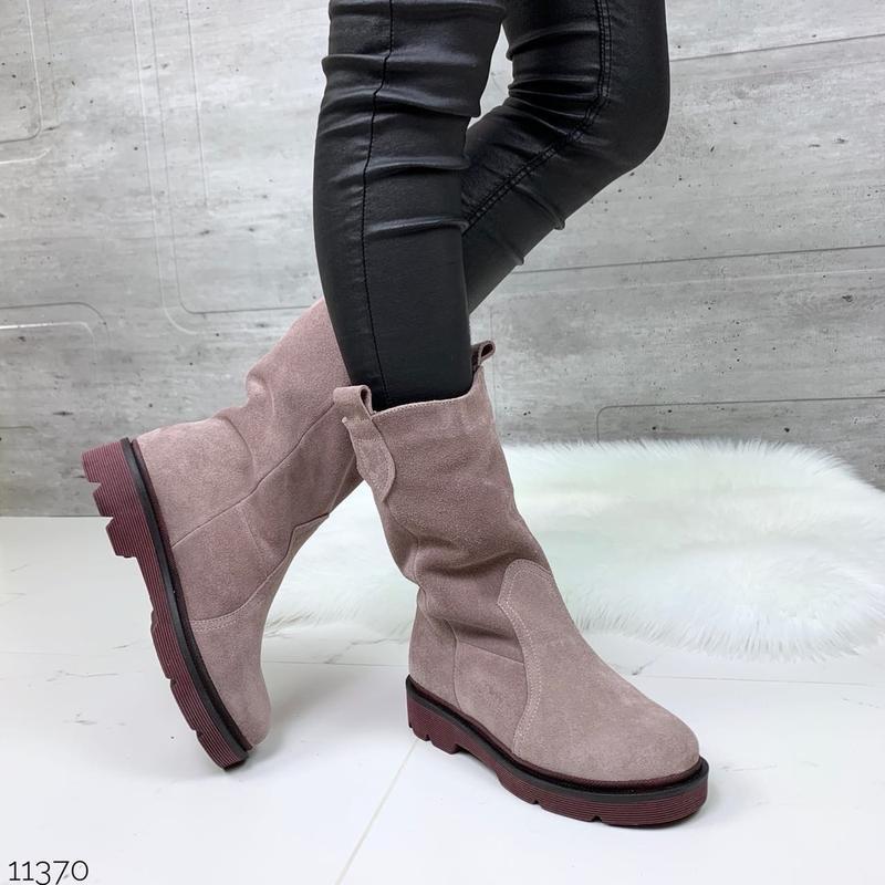 ❤ женские пудровые зимние замшевые ботинки сапоги полусапожки ...