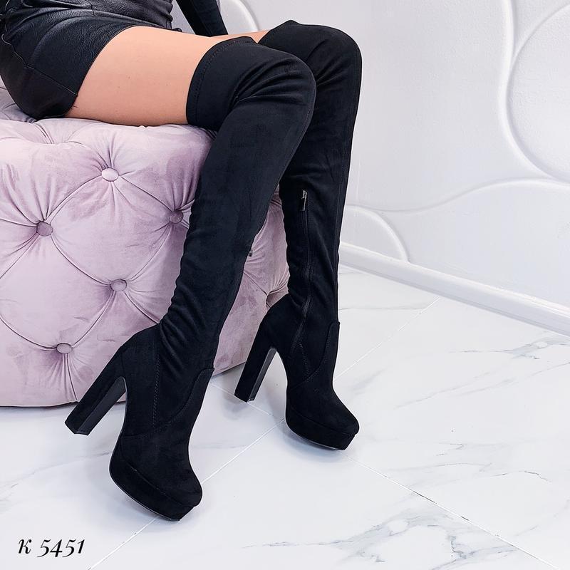 Замшевые сапоги ботфорты на высоком каблуке,высокие ботфорты,ч...