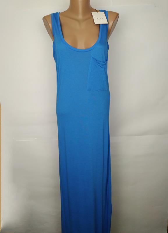 Платье голубое натуральное трикотажное в пол vila clothes uk 1...