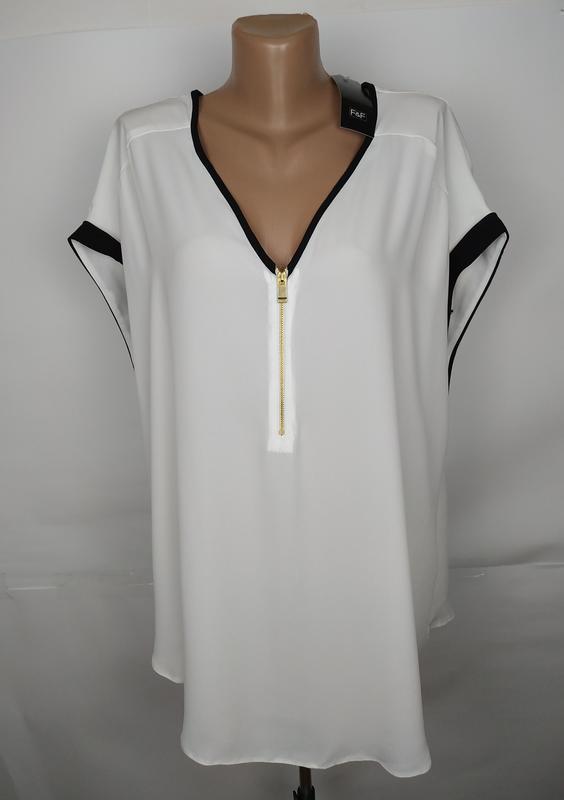 Блуза белая легкая шикарная большой размер f&f uk 22/50/4xl