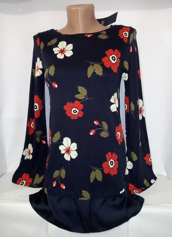 Блуза вискозная модная в цветы marks&spencer uk 6/34/xxs