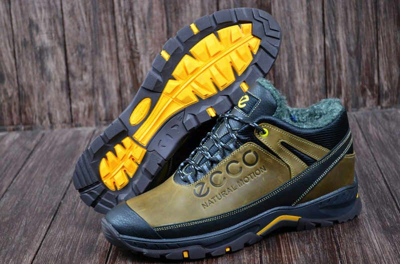 Мужские кожаные зимние ботинки Ecco. Натуральная кожа. - Фото 3