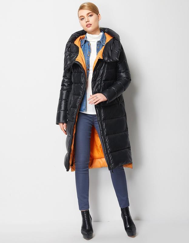 Пуховик женский теплый длинный зимний. куртка пальто с капюшон... - Фото 3