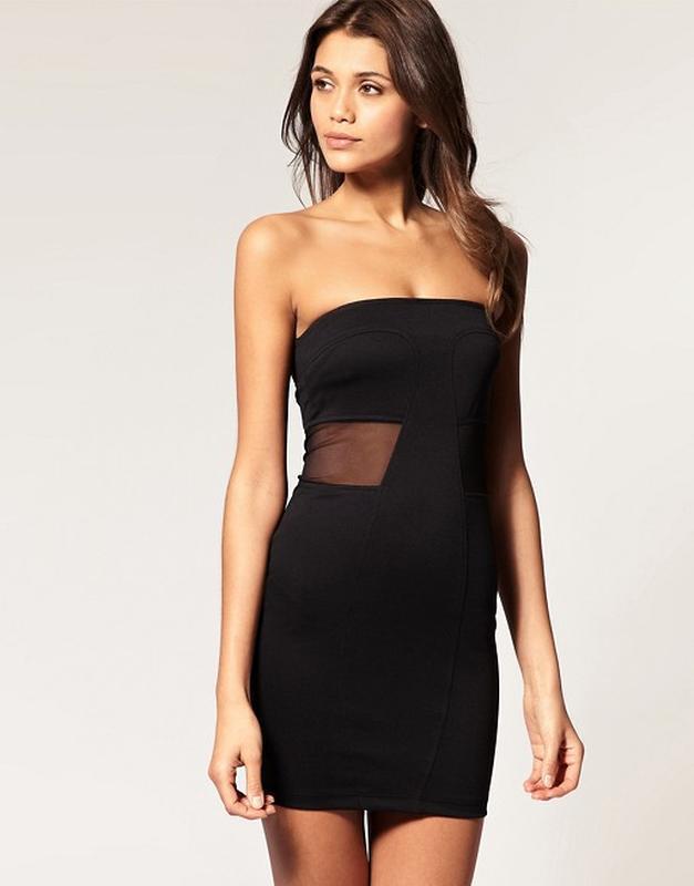 Черное платье бандо без рукавов с вставками сеточки на талии asos