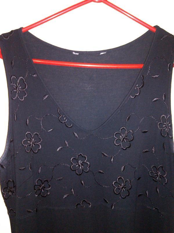 Натуральное,стрейч-трикотажное,длинное,чёрное платье-сарафан с...