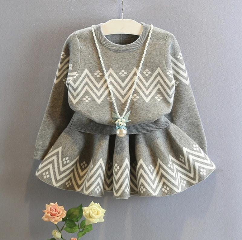 Костюм юбка свитер модный с узором