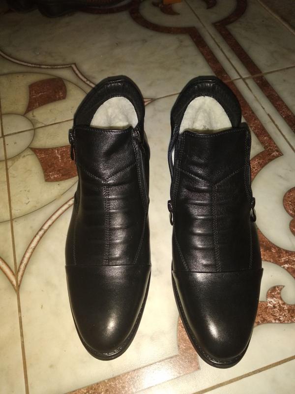 Мужские кожаные короткие зимние ботинки