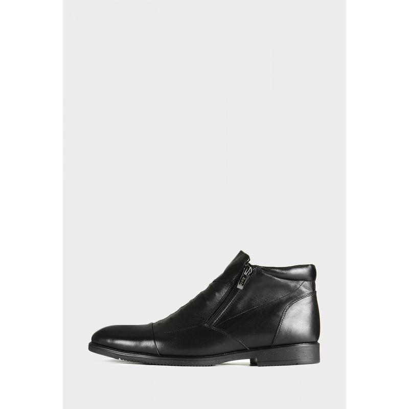 Мужские кожаные короткие зимние ботинки - Фото 5