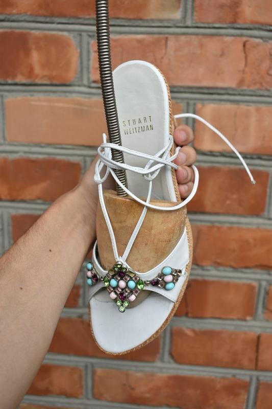Stuart weitzman оригинал! женские босоножки с камнями кожаные ...