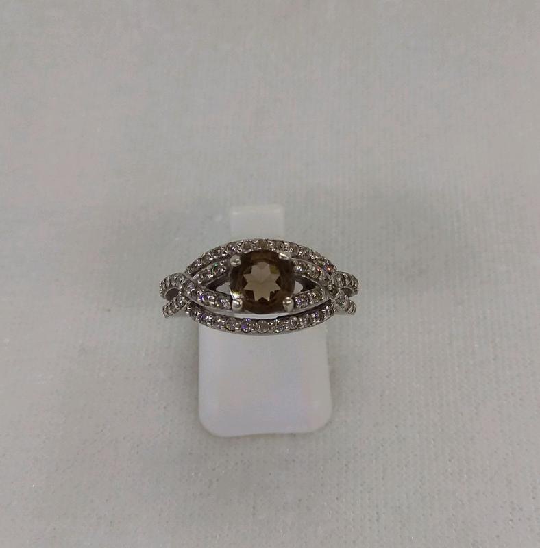 Кольцо серебро 925, раухтопаз, родий