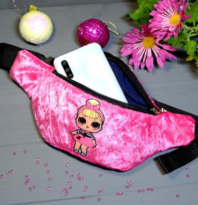 Сумка-бананка с куклой лол поясная велюровая сумка 72, сумка-б... - Фото 3