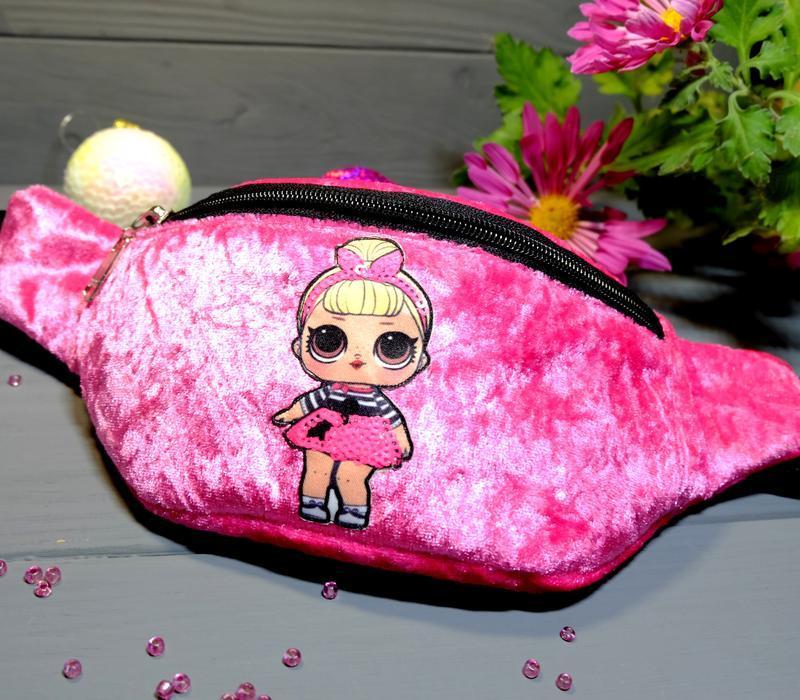 Сумка-бананка с куклой лол поясная велюровая сумка 72, сумка-б... - Фото 8