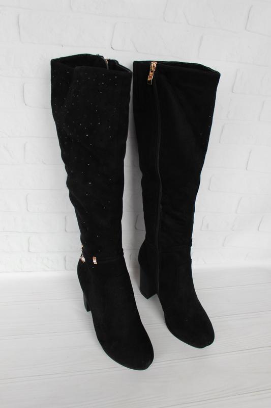 Зимние сапоги, сапожки 37 размера на устойчивом каблуке - Фото 2