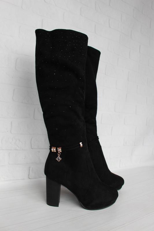 Зимние сапоги, сапожки 37 размера на устойчивом каблуке - Фото 3