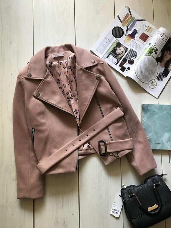 Пудровая куртка косуха под замш