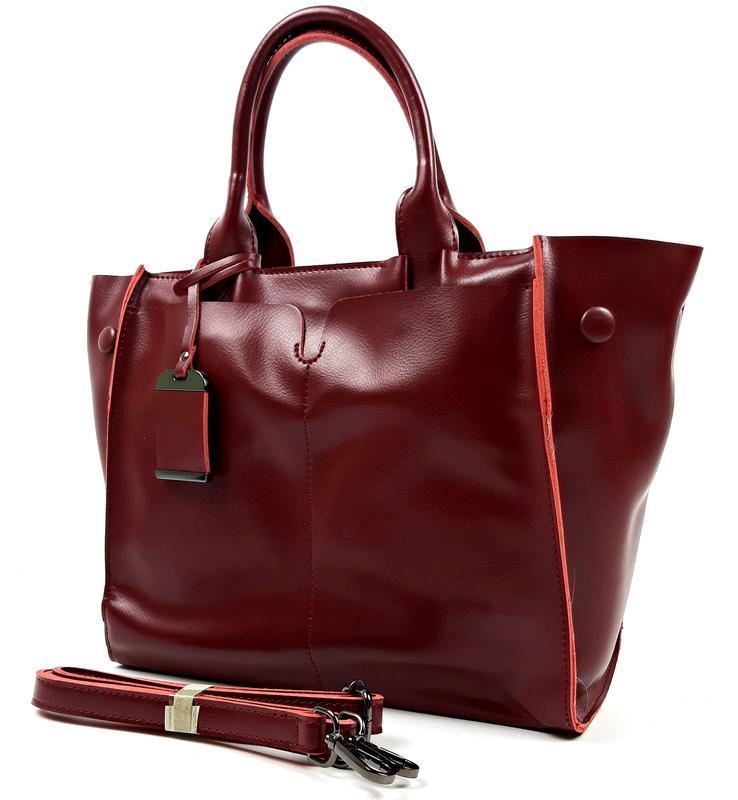 Кожаная женская сумка бордовая, galanty - Фото 2