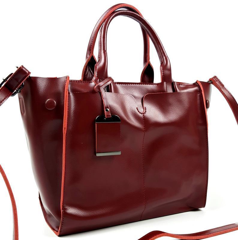 Кожаная женская сумка бордовая, galanty - Фото 4