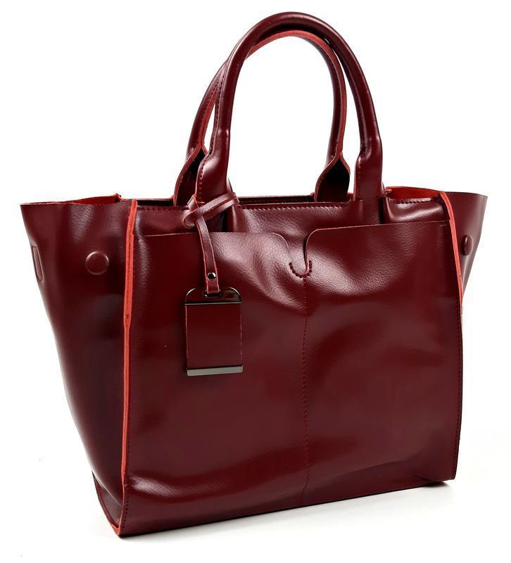 Кожаная женская сумка бордовая, galanty - Фото 5