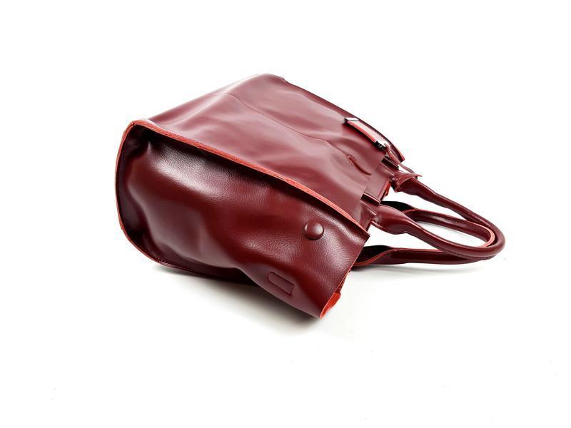 Кожаная женская сумка бордовая, galanty - Фото 6
