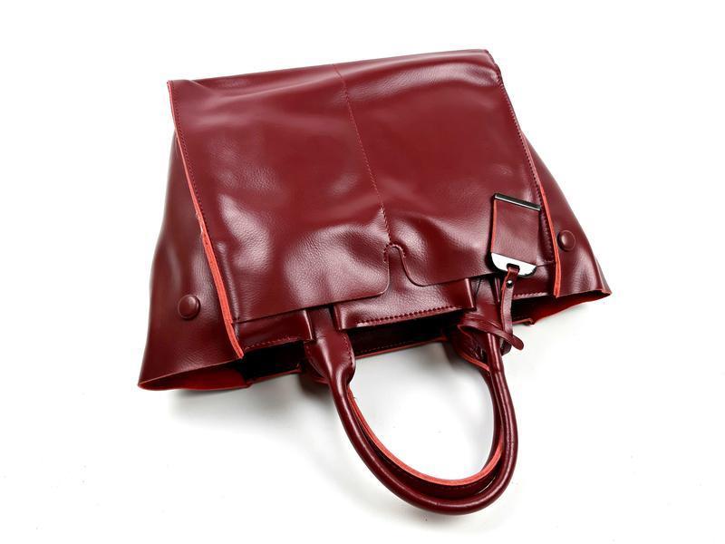 Кожаная женская сумка бордовая, galanty - Фото 7