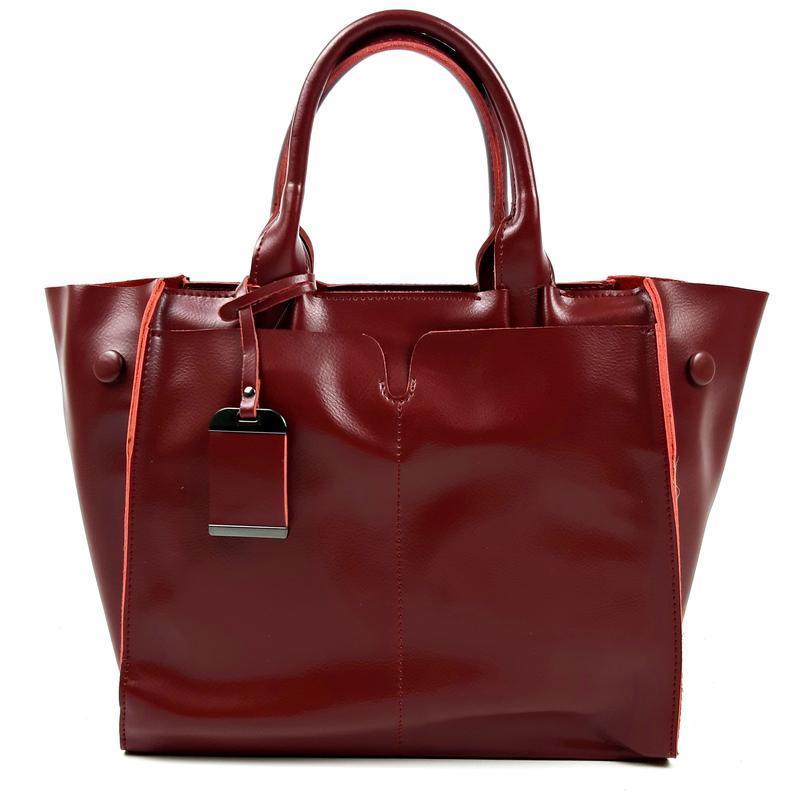 Кожаная женская сумка бордовая, galanty - Фото 8