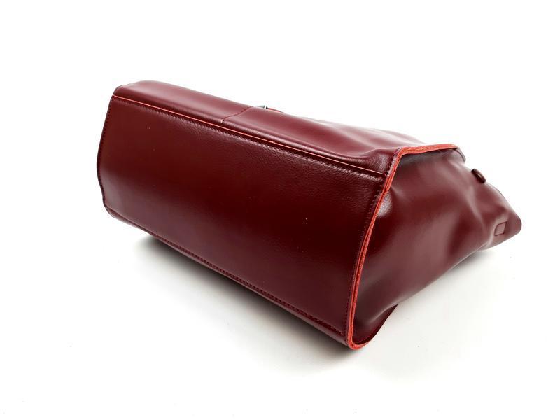 Кожаная женская сумка бордовая, galanty - Фото 9